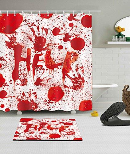Halloween Decorative Bloody Decor Shower Curtain Polyester Fabric 3D Digital Printing 72×72 Durable Waterproof Help…