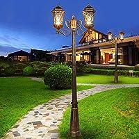 2 - ライトクラシックビクトリアヴィンテージ屋外ガーデンランプIP55防水レトロハイポールピラーポストライトアルミストリート芝生フロアランプE27ドライブウェイ風景列の照明 (Color : Bronze, Size : 2.1m)