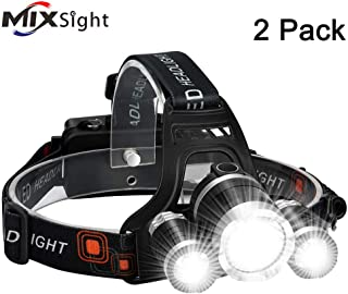 LED Headlamp 6000LM Ultra Bright 3 LED Headlight USB Rechargeable 4 Modes Flashlight Waterproof Outdoor Fishing Camping Hunting (2 pack)