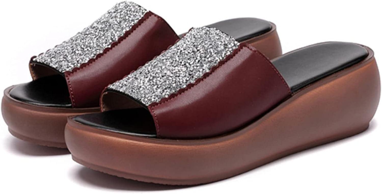 Summer Fashion Rhinestone Upper Decor for Women Platform Slides Open Toe Ladies Elegant Middle-Aged Mother Slides Shoes