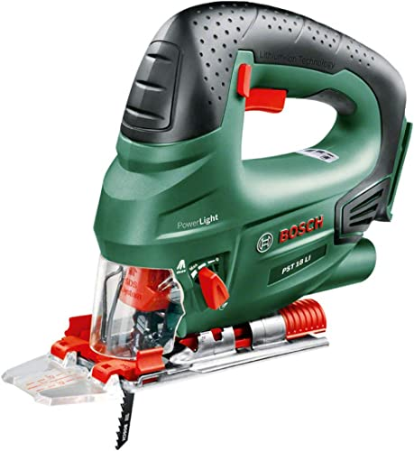 Bosch 603011002 Cordless Jigsaw PST 18 LI (Without Battery, 18 Volt System, Saw Blade Included, in Box) Green