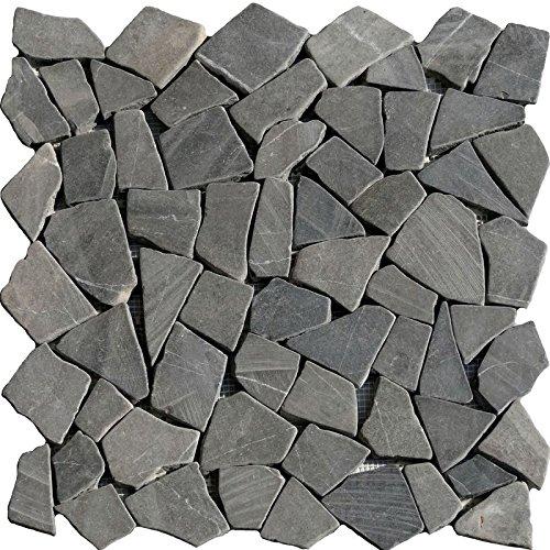 1 Netz Bruchmosaik Anthrazit Basalt schwarz