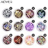 Aliver Sequins del chiodo del chiodo 12 colori UV Gel DIY Glitter Decorazione Nail Art Seq...