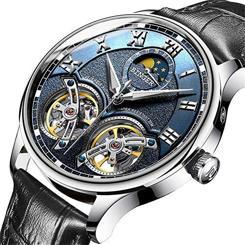 Binger Switzerland Watches Double Tourbillon,Orologio Automatico da Uomo Originale Sapphire Japan Movement Orologio da Polso Meccanico da Uomo in Pelle Self-Wind 8606,H