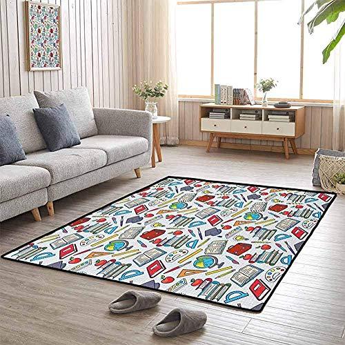 LAURE Area Rug Area Mat Teppichboden Schulmotiv Studentenzubehör Globus Farben und Pinsel Bücher Bildung