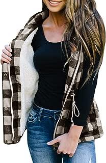 Women Buffalo Plaid Jacket Vest Hooded Sleeveless Lightweight Anoraks Sherpa Winter Coat Cardigan