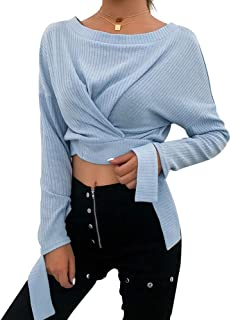 Women Casual O-Neck Long Sleeve Buttons Elegant Bandage Knitted Crop Tops