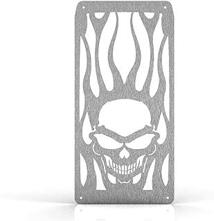 Skull Flame Brushed Stainless Radiator Grill Guard fits: 2003-2009 Honda VTX1300 - Ferreus Industries - GRL-106-09brushed