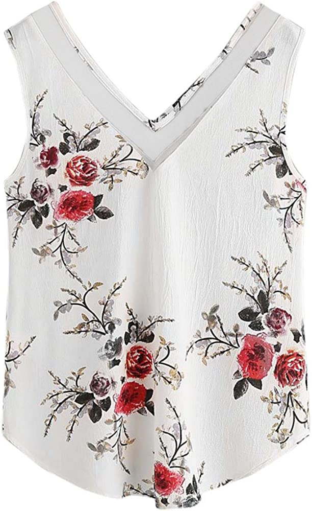 Women's Basic V Neck T Shirts Side Split Camisoles Fashion Print See Through Casual Sleeveless Loose Fit Tank Tops