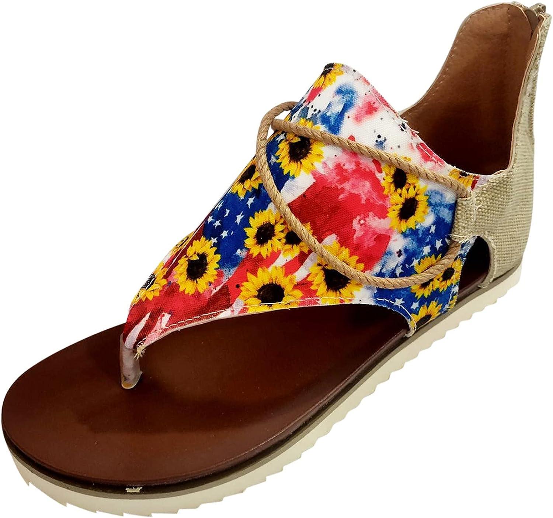 USYFAKGH Wide Width Sandals For Women Women Summer Flowers Print