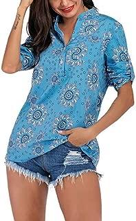 Mogogo Womens Plus-Size Leisure V-Neck Painting Long-Sleeve Top Shirt