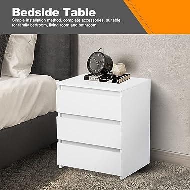 AYNEFY Table de Chevet Blanche avec 3 Tiroirs Table de Nuit Moderne Meuble de Chambre à Coucher Armoire pour Lits Boxspring,