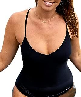 Women's Black One Piece Swimsuit,V Nenk Front Tie Cross Back Lace Up Bathing Suit Swimwear