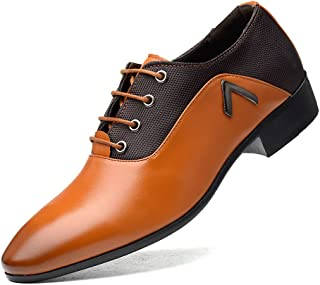 Aomoto Men's Lace Up Shoes Black Heel Business Oxfords with PU Leather Splice Breathable Canvas Vamp