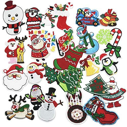 Woohome 27 PCS Merry Christmas Iron on Patch Embroidered Appliques Stickers for Craft, Sewing, Clothing and DIY Christmas Gifts