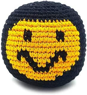 Mia Jewel Shop Guatemalan Handcrafted Crochet Pattern Hacky Ball Foot Bag Sack Black Yellow Smiley Face