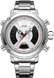 WH6905 شاشة مزدوجة بحركتين كوارتز رقمية للرجال ساعة 3ATM مقاومة للماء LCD الخلفية مضيئة الرياضة المنطقة الزمنية المزدوجة ت...