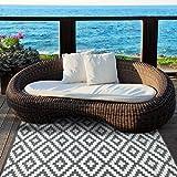 Green Decore 150 x 240 cm Wendbarer Öko-Teppich aus recyceltem Kunststoff (Plastik) für Innen und Außen/Federleicht - Grau/Weiß - 6