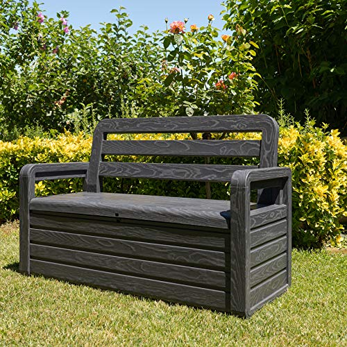 TOOMAX Outdoor & Indoor Storage Box Bench Seat 270L Garden Chest Plastic Furniture
