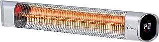 blumfeldt Dark Wave Radiador de Pared - Radiador por Infrarrojos, Potencia de 2000 W, Regulable en 9 Niveles, Temporizador de Apagado, Programable hasta 24 h, Pantalla LED integrada, Plateado