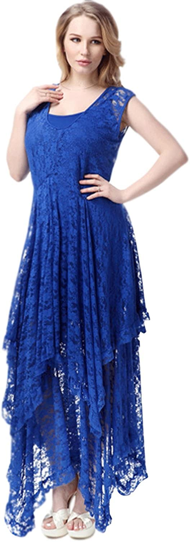 Unomatch Women Plus Size Sleeveless Irregular Skirt Lace Courtship Slip Dress bluee