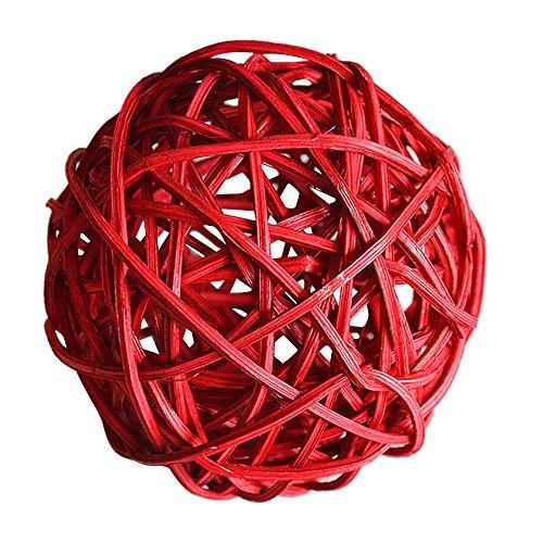 Pinzhi Lot de 20 boules en rotin pour décoration de fête de mariage 3 cm Rouge