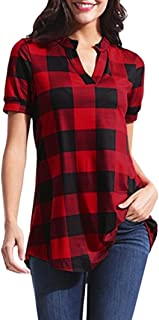 UOFOCO Plaid Tops for Women Casual T-Shirt Printed Blouse Short Sleeve V-Neck