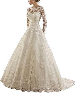 c0873f99b84 VKStar® Robe Mariage Femme Longue Dentelle et Tulle Robe de Mariée Princesse  Femme Manches Longues