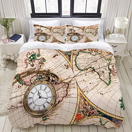 Juego de Funda nórdica, Reloj de Bolsillo Vintage con Reloj de Bolsillo Antiguo y Colorido, Juego de Ropa de Cama de 3 Piezas con 2 Fundas de Almohada