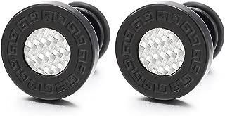 10mm Men Steel Greek Key Stud Earring with Carbon Fiber, Cheater Fake Ear Plugs Gauges