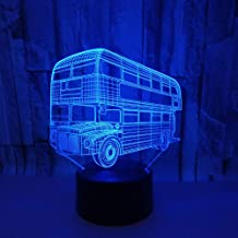 Double-Decker Bus 3D Acrylic Night Light Touch Switch Colorful Visual Stereo Light 3D Visual Light Table Lamp Remote Control 7 Color Change