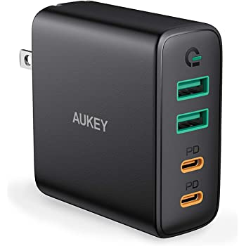 AUKEY USB C Charger, 48W 4 Port Fast Charging Adapter with Power Delivery, Foldable Wall Charger with 45W USB C Port Compatible with MacBook Air, USB C Laptops, iPhone 12 Pro Max, iPad Pro and Switch