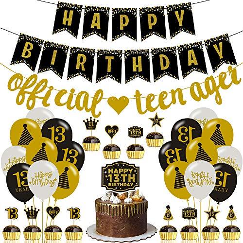 Teen Party Dekoration, 13. Geburtstagsparty Deko Set Enthält Hängende Banner und Flaggen, Gold und Schwarze Luftballons, Kuchendeckel