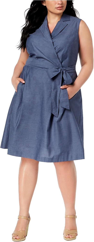 Anne Klein Womens Notch Collar Fit & Flare Dress