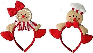 Zerowin Christmas Gingerbread Man Style Hair Hoop Xmas Hair Accessory Headwear Cute Cartoon Headband Christmas Holiday Party Supplies Gifts (Style 1&2)