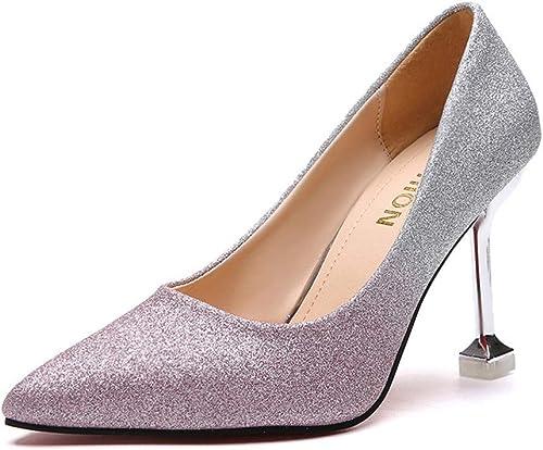 Escarpins La Mode Microfibre De 9 Cm pour Femmes d'europe Et D'Amérique A Souligné Les Chaussures à Talons Hauts De Discothèque Sexy