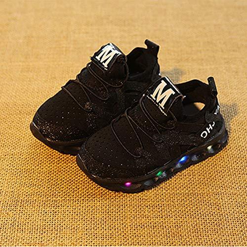 Heaviesk Frühlings-geführte Kinder-Schuhe mit Licht Kinder beiläufige Net Schuhe Jungen Mädchen Turnschuhe Glühende Schuhe 21-25 Größe