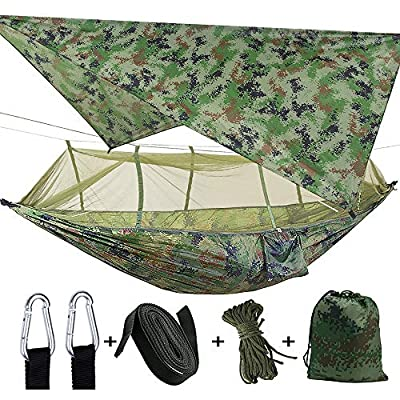 TOPCHANCES Upgrade Ultralight Portable Nylon Camping Hammock with Mosquito Net,Tree Straps and Rain Fly Tent Tarp for Outdoor Hammock Camping (Army Green)