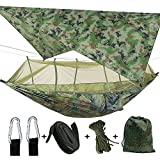 ele ELEOPTION 3in1 Camping hamac avec moustiquaire zippée et bâche, capacité de Charge de 300 kg hamacs bâche Respirante à séchage Rapide pour Le Camping, la randonnée (Hamac de Camouflage)