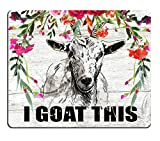 Smooffly Funny Quote Mouse Pad, Office Desk Accessories, Goat Mouse Pad, Desk Decor, Funny Office Gifts, Floral Mousepad, Boss Gift