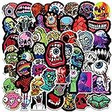 Halloween cráneo globo ocular impermeable monopatín viaje maleta teléfono portátil equipaje pegatinas lindo niños niña 50 piezas
