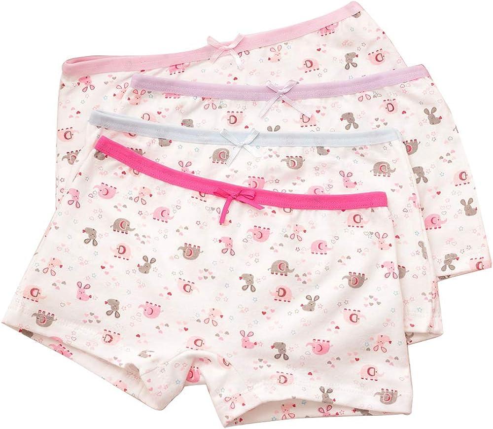 BOZEVON Girls Cotton Boyshort - Toddler Underwear Kids Briefs Panties Pack of 4