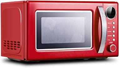 JINRU Placa Giratoria De Horno De Microondas con Encimera De Estilo Retro, Modo Ecológico Y Sonido Activado/Desactivado,Rojo