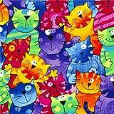Farbiger Designer Stoff mit lustigen bunten Katzen