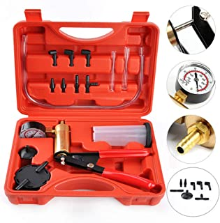 Vacuum Pump Tester Set, Brake Bleeder Kit, Hand Held Vacuum Pressure Pump Tester Tool Durable Brake Fluid Bleeder Bleeding Kit for Car Motorbike Moped Motor Bike (1 Set, Orange)