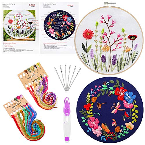 ZWOOS Stickerei Set, Kreuzstich Set 3 Pack, Komplettes Sortiment an Stickstarter-Kits mit Mustern und Anleitungen, 1 Stickrahmen, Stickgarn und Werkzeugen, für Nähen, DIY Kunst, Handwerk (2 Stück Set)