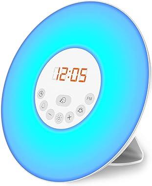 B.K.Licht Radio-Réveil LED, réveil lumineux 7 couleurs, simulation lever/coucher du soleil, 5 sonneries sons nature, radio FM