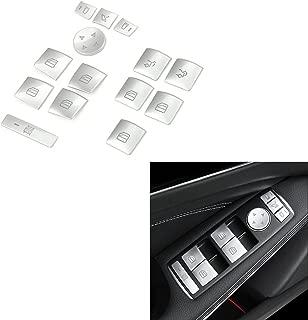 Duoles 14 Pieces Car Window Glass Lift Button Trim Cover Sticker for Mercedes Benz A/B/C(W204)/E(W212)/GLA/CLA/GLK/GL/ML/GLE-Class