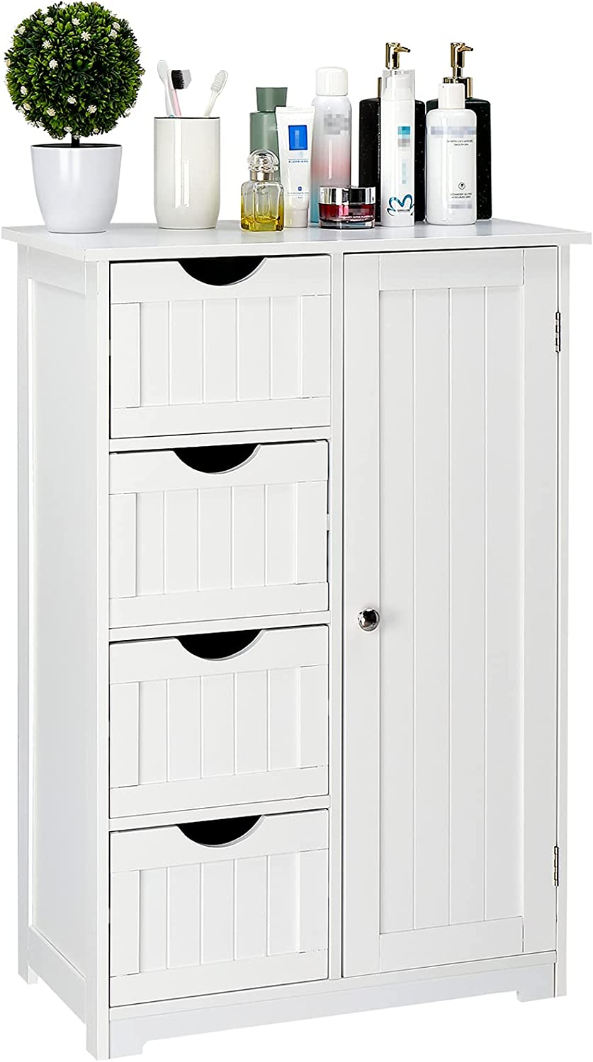 FCH White Storage Cabinet Bathroom Standing Super Wholesale special price Free Cabinets Woode