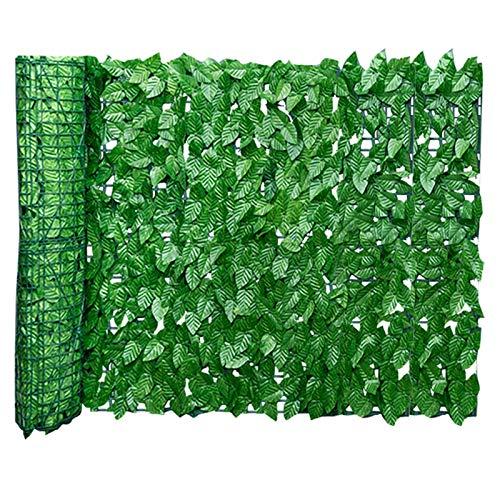 Seto Artificial de Ocultación para Jardín de Plástico Verde, Valla de Setos y Hojas de Hiedra Artificial, Decoración para Exteriores y Jardines